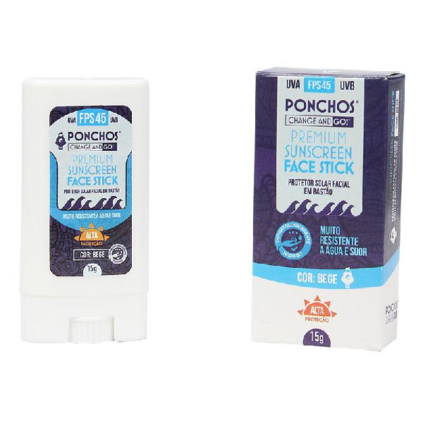 Protetor ponchos premium face stick sunscreen fps 45 uva/uvb
