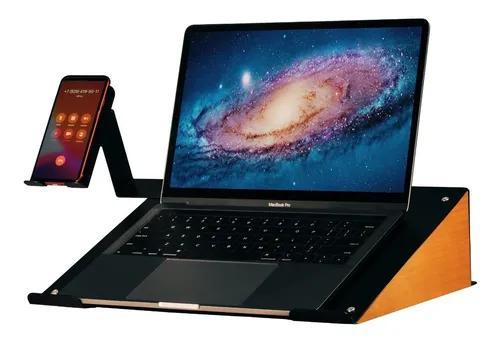 Suporte notebook laptop e celular metal e madeira vintage