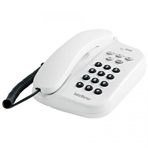 Telefone de mesa com fio branco tc500 intelbras
