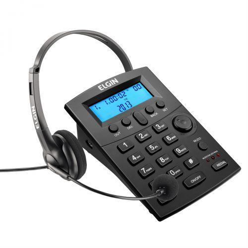 Telefone headset com identificador preto hst-8000 elgin