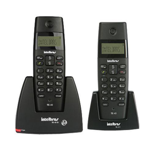 Telefone sem fio intelbras ts40 c preto, combo base + 1