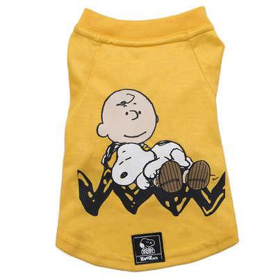 Camiseta zooz pets charlie snoopy sleeping amarela