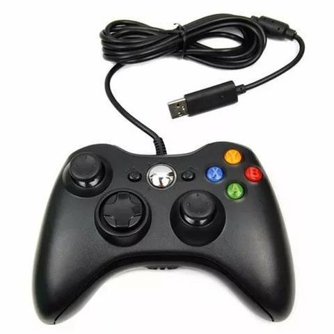Controle com fio usb xbox 360 e pc notebook slim joystick