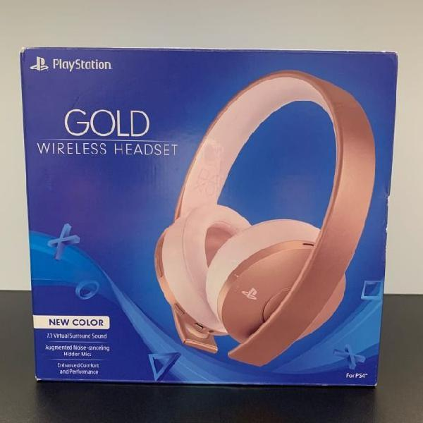 Headset sony serie ouro 7.1 wireless new gold new color rose