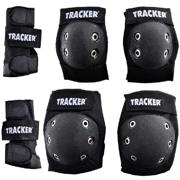 Kit de proteção skate tracker iniciante infantil preto -
