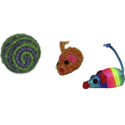 Brinquedo chalesco kit bolinha e ratinho de sisal para gatos
