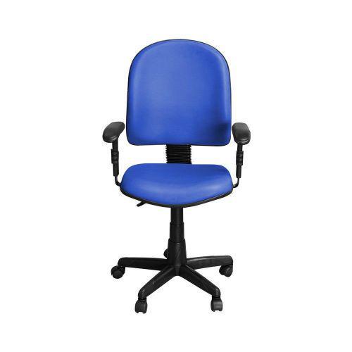Cadeira Para Escrit/u00f3rio PE01 Girat/u00f3ria Couro Azul
