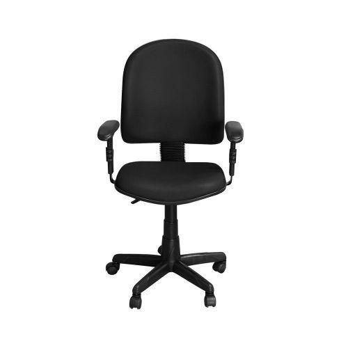 Cadeira Para Escrit/u00f3rio PE01 Girat/u00f3ria Couro Preto