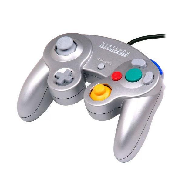 Controle nintendo gamecube prata com fio - wii e gamecube