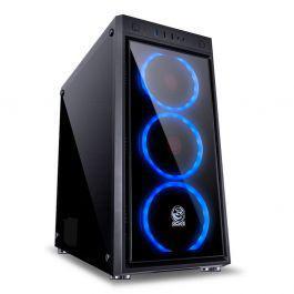 Gabinete pcyes! jupiter midtower 3x fan azul lateral vidro