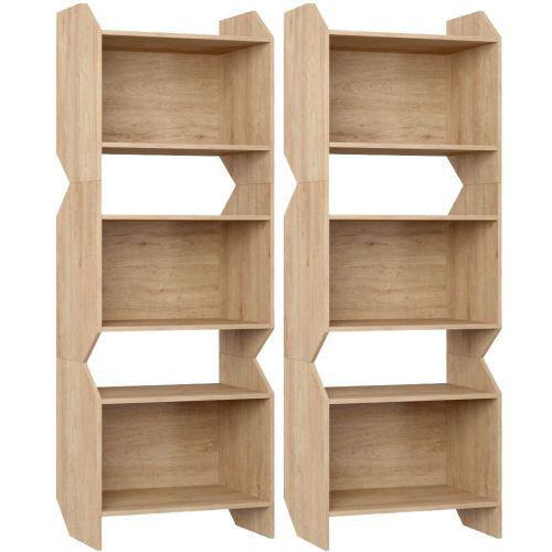 Kit 02 estantes triplas sem porta soul carvalho mel - be
