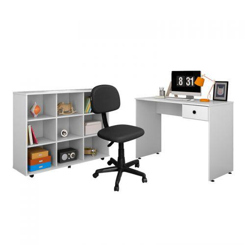 Mesa escrivaninha dubai nicho multiuso am/u00e3 branco e