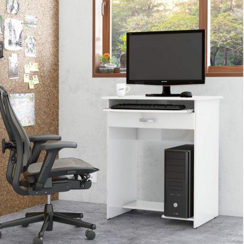 Mesa para computador 1 gaveta pratica ej m/u00f3veis branco