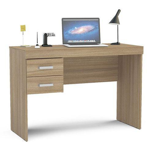 Mesa para computador 2 gavetas mafra politorno - castanho