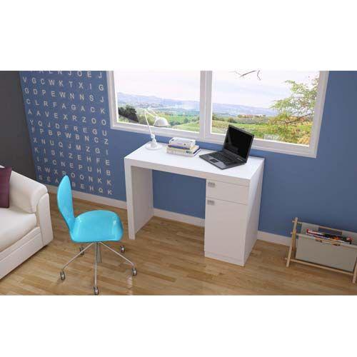 Mesa para computador com 1 porta e 1 gaveta com puxador em