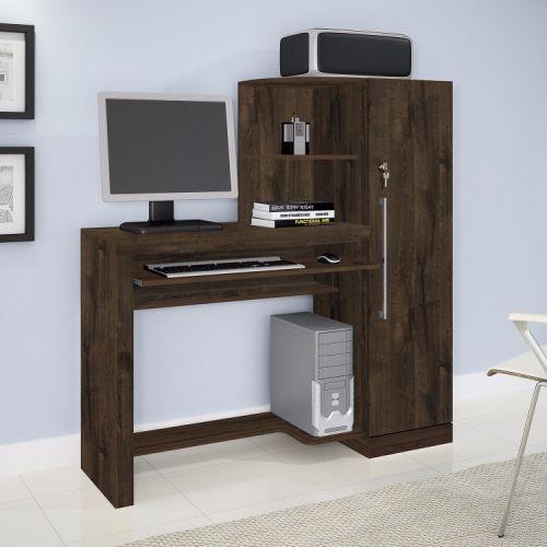 Mesa para computador com arm/u00e1rio 1 porta aroeira jcm