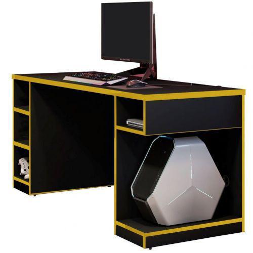 Mesa para computador notebook pc gamer destiny preto amarelo