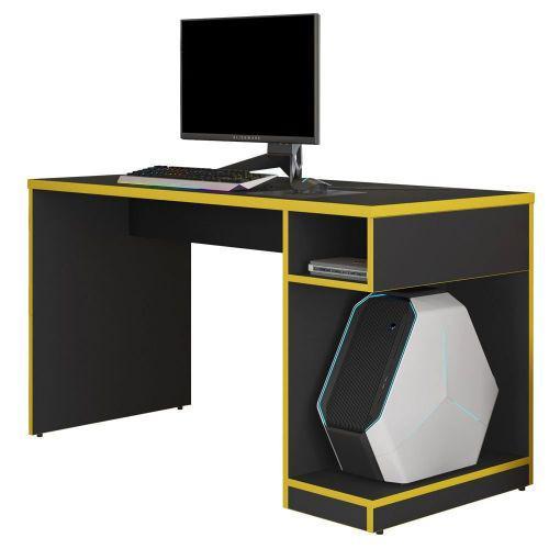 Mesa para computador notebook pc gamer legend preto amarelo