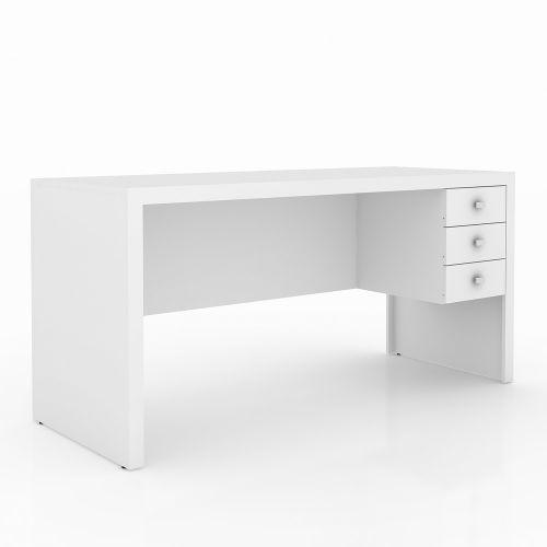 Mesa para escrit/u00f3rio 3 gavetas branco