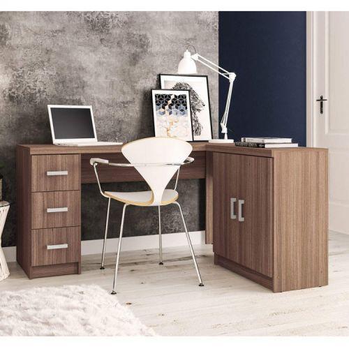 Mesa para escrit/u00f3rio em l 2 portas 3 gavetas