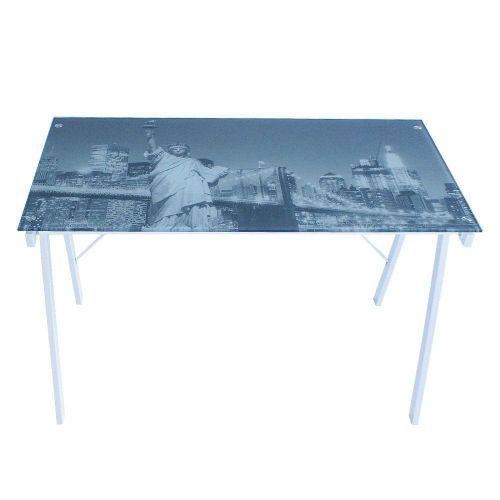 Mesa para escrit/u00f3rio nova york base em metal branco -