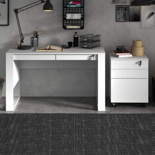 Mesa de escritorio 2 gavetas com chave luiza espresso