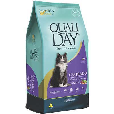 Ração qualiday especial premium cat castrado adulto carne,