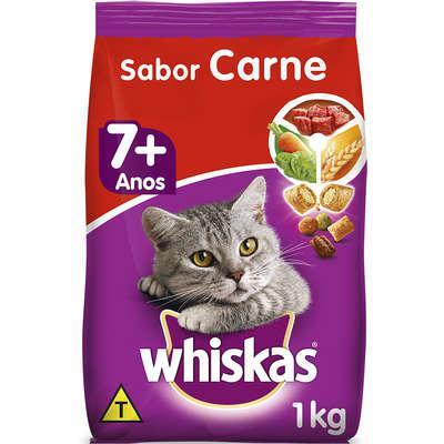 Ração whiskas carne 7+ anos gatos adultos