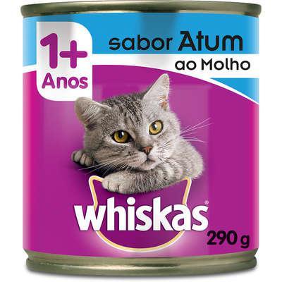 Ração úmida whiskas lata atum ao molho para gatos adultos