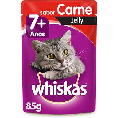 Ração úmida whiskas sachê carne jelly para gatos adultos
