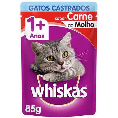 Ração úmida whiskas sachê carne ao molho para gatos