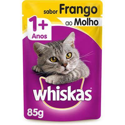 Ração úmida whiskas sachê frango ao molho para gatos