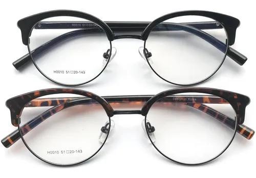 Armação de óculos redondo retrô acetato e metal trend