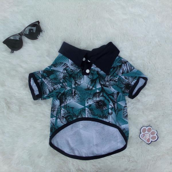 Moda pet - camisa pet verde floral (gg)