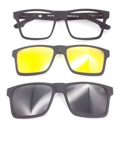 Oculos mormaii preto fosco 6097 clipon solar + noturno