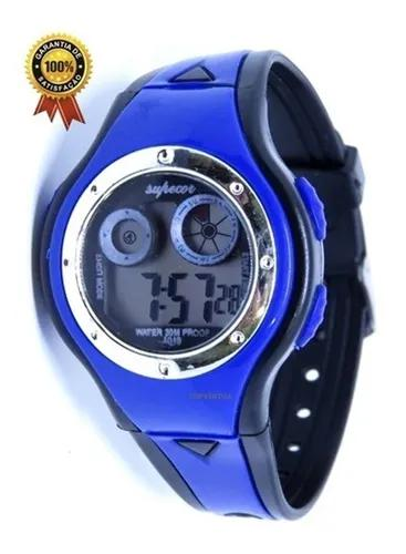 Relógio digital infantil azul meninos shock luz top