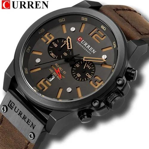 Relógio masculino esportivo militar curren couro luxo promo