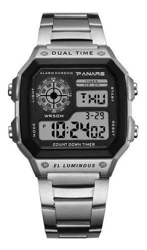 Relógio panars 8113, digital, pulseira metal, a prova