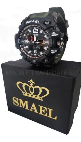 Relógio smael 1545 camuflado original militar prova d´