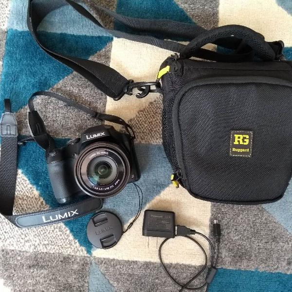 Câmera dslr panasonic lumix dc-fz80 na garantia e com bolsa