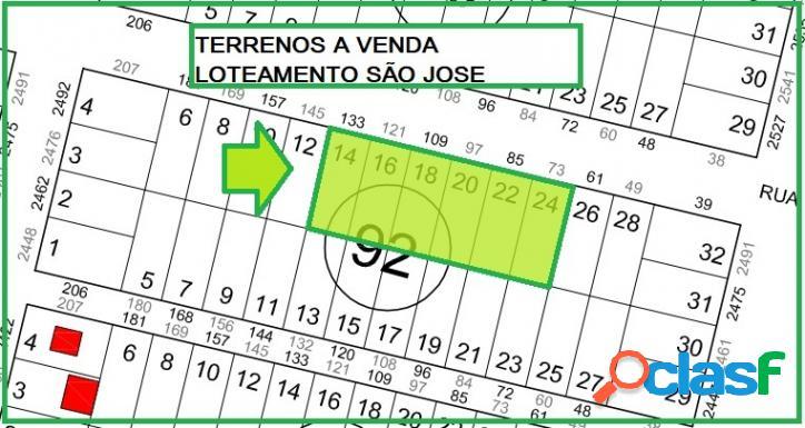 Terrenos loteamento são josé - 360,00m² cada