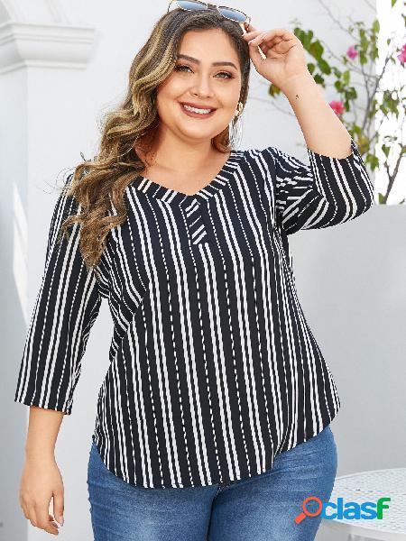 Yoins plus blusa listrada com decote em v 3/4 comprimento blusa de mangas