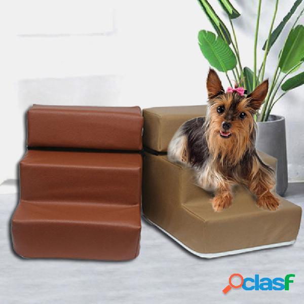 Cachorro escadas de imitação de couro escada para animais de estimação esponja escadas cachorro teddy on sofa on bed ladder