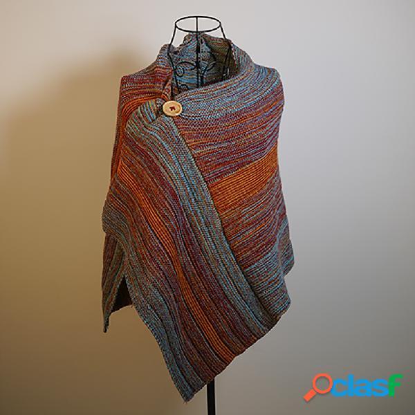 Listras multicoloridas casuais das mulheres em volta do pescoço lenços e xales abotoado crochê padrão