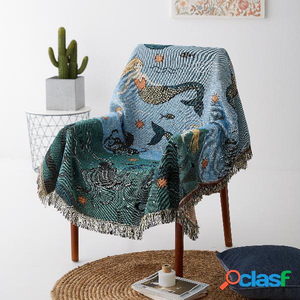 Original design sereia azul impresso mistura de algodão tampa do sofá anti-poeira capa de tapeçaria em casa art decor