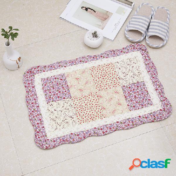 100% algodão floral estilo pastoral acolchoado tapetes forte absorção de água em casa banheiro esteira do assoalho