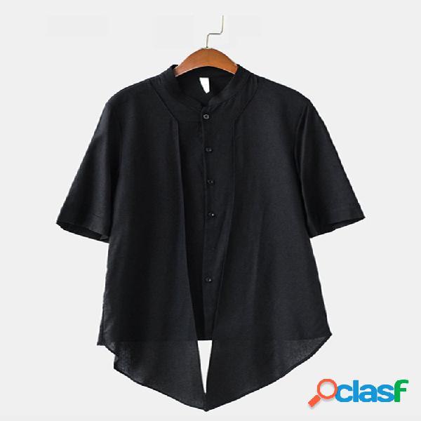 Mens mid-long estilo chinês meia luva de algodão jaqueta casual lisa respirável camisa