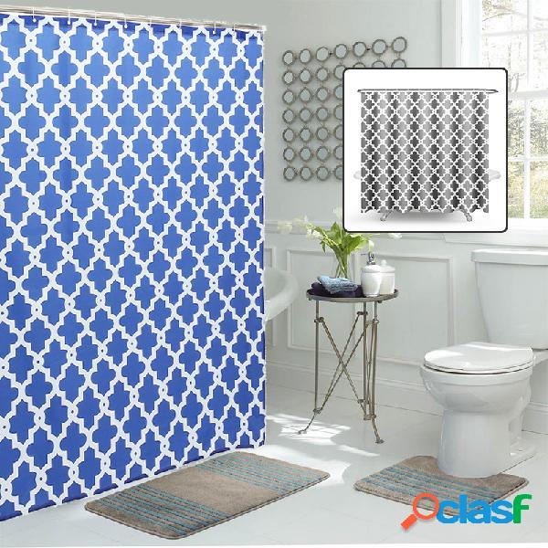 Cortina cinzenta marroquina da tela banheiro do poliéster da cortina de chuveiro de 180cm impermeável