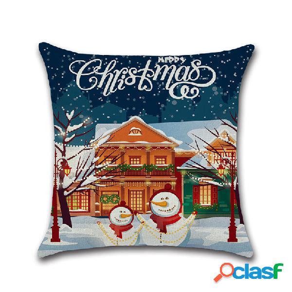 Feliz natal boneco de neve elk capa de almofada de linho sofá de casa cadeira de carro do escritório lance fronhas