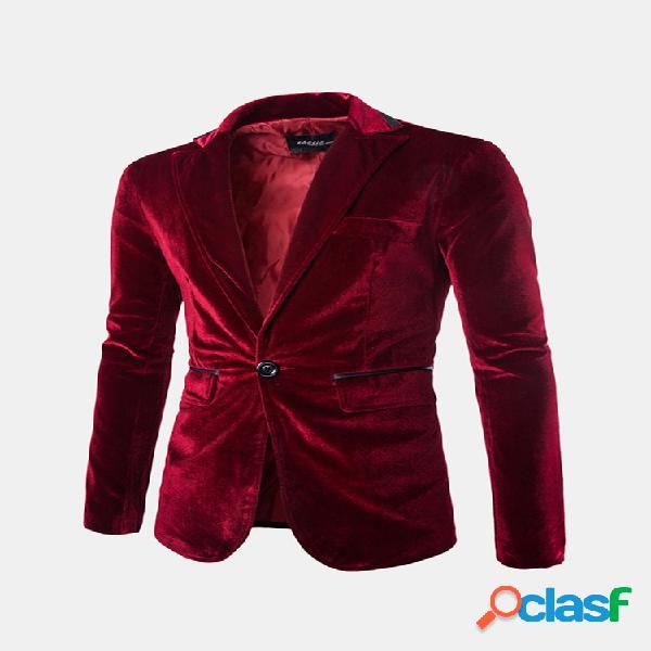 100% algodão veludo de algodão cor sólida manga comprida blazer casual paletó para homens